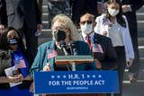 Photos From Speaker of the United States House of Representatives Nancy Pelosi (Democrat of California) and House Democrats hold a press conference regarding H.R. 1, the For the People Act of 2021.