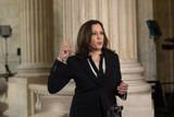 Photo - United States Senator Kamala Harris (Democrat of California) speaks during a television interview at the United States Capitol in Washington DC US on Wednesday June 24 2020  Credit Stefani Reynolds  CNPAdMedia