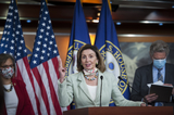 Photo - House Speaker Nancy Pelosi (D-Calif) holds a press conference on the Trump Administrations response to and House Democrats plan for COVID-19 testing in the House Visitors Center Studio at the US Capitol in Washington DC Wednesday May 27 2020 Credit Rod Lamkey  CNPAdMedia