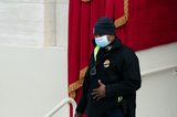 Photo - Capitol Police Officer Eugene Goodman participates in an inauguration rehearsal outside the Capitol in Washington DC on January 18 2021 Credit Erin Schaff  Pool via CNPAdMedia