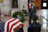Alex Padilla Photo - United States Senator Alex Padilla (Democrat of California)  pays his respects to US Capitol Police officer William Evans as he lies in honor at the US Capitol in Washington DC on Tuesday April 13 2021Credit Greg Nash  Pool via CNPAdMedia