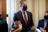 Photo - United States Senator John Thune (Republican of South Dakota) talks with reporters outside his office at the US Capitol