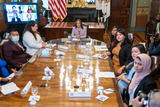 Photo - US Vice President Kamala Harris and attendees listen to Diana Bautista DCA applicant and CHIRLA youth member during a ceremonial conversation with other DACA recipients in the Eisenhower Executive Office Building in Washington DC USA 21 July 2021 Among those in the meeting were Dreamers without DACA and immigrant rights leaders following the Texas District Court decision on DACA Credit Ken Cedeno  Pool via CNPAdMedia