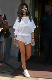 Rihanna,Tony Clark Photos - Rihanna left her hotel today in London sporting the head-to-toe white trend She accessorised with white Prada sunglasses and new grey highlights in her hair 18072013 London UK photo Tony Clark  CM  Featureflash